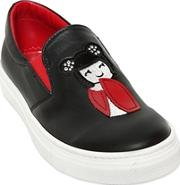 Mimisol , Embellished Leather Slip On Sneakers