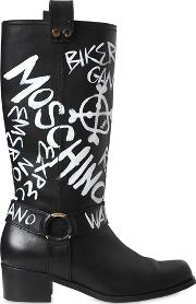 Moschino , 40mm Printed Leather Boots