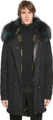 Mr&mrs Italy , Fox Fur Trimmed Cotton Canvas Parka
