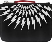 Neil Barrett , Printed Bolts Zip Leather Mini Pouch