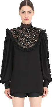 Nena Ristich , Embellished Silk Shirt With Lace Insert