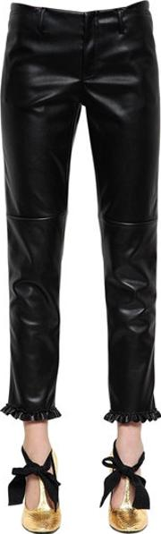 Philosophy Di Lorenzo Serafini , Faux Leather Pants W Ruffled Hem