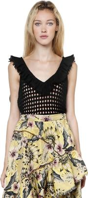 Philosophy Di Lorenzo Serafini , Ruffled Cotton Open Knit Crop Top