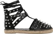Sarah Summer , 10mm Studded Leather Lace Up Espadrilles