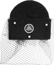 Silver Spoon Attire , Beanie Hat With Veil & Bow
