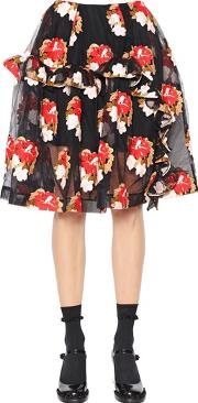 Simone Rocha , Ruffled Floral Embroidered Tulle Skirt