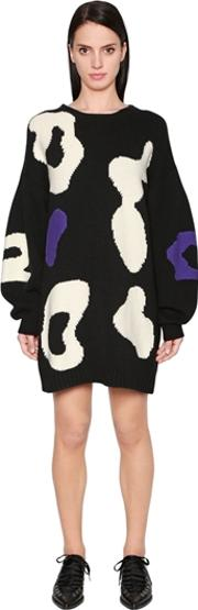 Sportmax , Oversized Intarsia Wool Sweater Dress