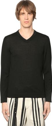 The Kooples , Leather Trimmed Wool Knit Sweater