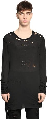 Unravel , Destroyed Cotton Jersey T Shirt