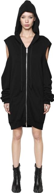Unravel , Zip Up Cut Out Cotton Hooded Sweatshirt