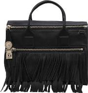 Versace , Fringed Leather Top Handle Bag