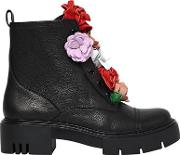 50mm Bliss Flower Leather Combat Boots