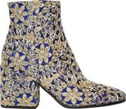 Strategia , 70mm Embroidered Satin Ankle Boots