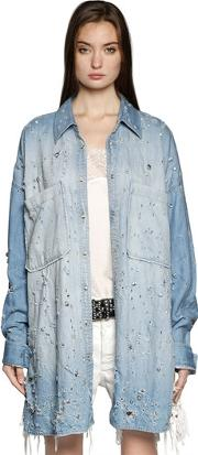 Faith Connexion , Embellished Distressed Denim Shirt