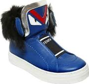 Fendi , Monster Leather Sneakers W Rabbit Fur
