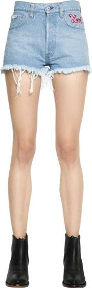 Forte Couture , Love Embroidered Cotton Denim Shorts
