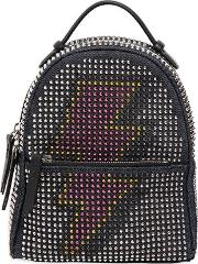 Les Petits Joueurs , Micro Mic Flash Denim Leather Backpack