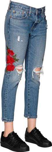 Levis Red Tab , 501 Cropped Embroidered Denim Jeans