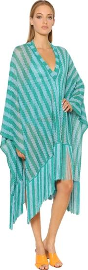 Missoni , Striped Lace Knit Poncho With Fringe