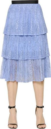 Selfportrait , Tiered Plisse Lace Skirt