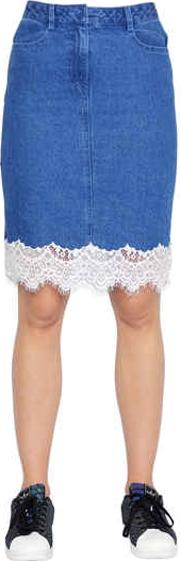 Steve J & Yoni P , Cotton Denim Skirt W Lace Trim