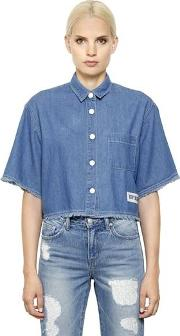 Steve J & Yoni P , Cropped Cotton Denim Shirt