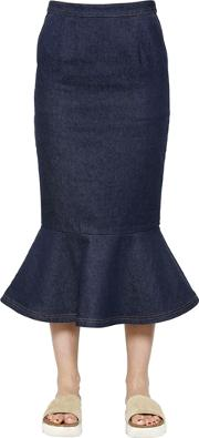 Steve J & Yoni P , Flared Cotton Denim Skirt