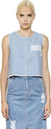 Steve J & Yoni P , Sleeveless Cropped Cotton Denim Top