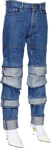Y Project , Layered Cuffs Cotton Denim Jeans