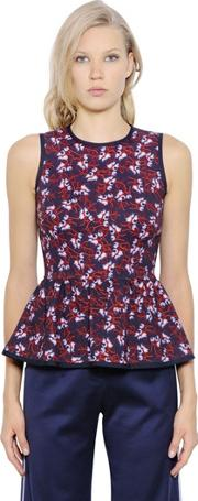 Mother Of Pearl , Floral Printed Stretch Jersey Peplum Top