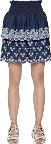Philosophy Di Lorenzo Serafini , Embroidered Cotton Poplin Eyelet Skirt
