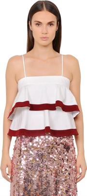 Tory Burch , Sage Tiered Cotton Poplin Top