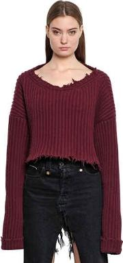 Unravel , Cropped Wool & Cashmere Rib Knit Sweater