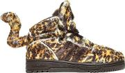 Adidas By Jeremy Scott , Leopard Printed Plush Sneakers