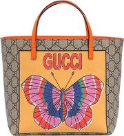 Gg & Butterfly Faux Leather Tote Bag