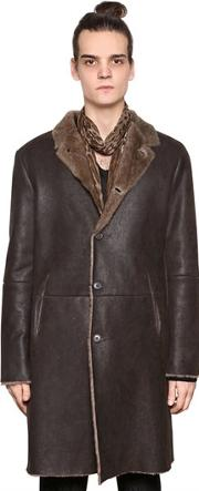 John Varvatos , Leather Coat With Shearling Interior
