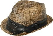 Move , Studded Hatband Vintage Effect Straw Hat