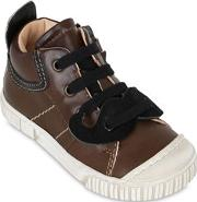 Ocra , Leather Sneakers With Moustache Patch