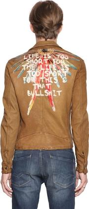 Php , Life Hand Painted Leather Jacket