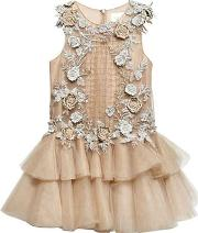 Mischka Aoki , Floral Embellished Tulle Dress