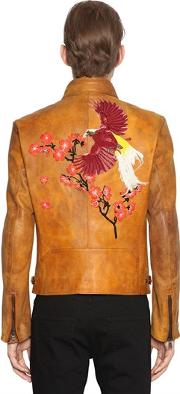 Php , Embroidered Leather Biker Jacket