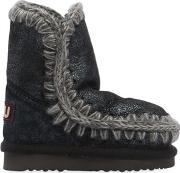 Mou , Eskimo Kid Crackled Shearling Boots