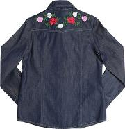 Miss Blumarine , Floral Embroidered Cotton Chambray Shirt