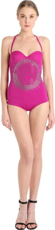 Versace , Crystal Logo Studded One Piece Swimsuit
