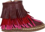 Ocra , Leather Ankle Boots W Fringe