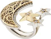 Azza Fahmy , Crescent Moon & Stars Ring