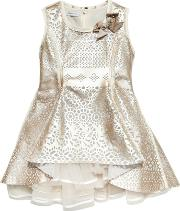 I Pinco Pallino , Laser Cut Faux Leather & Tulle Dress