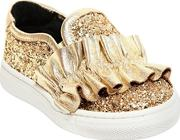 Miss Grant , Glitter Leather Sneakers W Ruffles