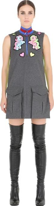 Fyodor Golan , Pony Patches Wool Flannel Dress