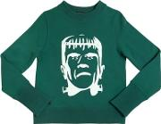 Yporque , Frankenstein Printed Cotton Sweatshirt